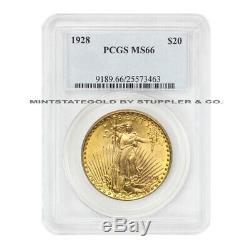 1928 $20 Gold Saint Gaudens PCGS MS66 Gem Grade Double Eagle Lustrous coin