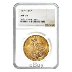 1928 $20 Gold St. Gaudens Double Eagle Coin NGC MS 66