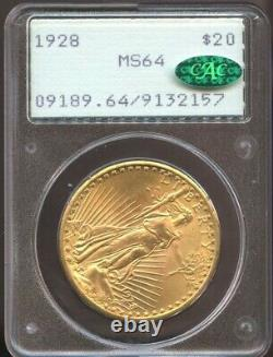 1928 $20 Gold St. Gaudens Double Eagle MS 64 CAC, Old Rattler PCGS, Undergraded