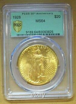 1928 $20 ST-Gaudens Gold Double Eagle MS-64 PCGS -30TH ANNIVERSARY GREEN LABEL