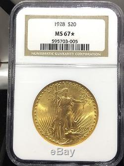 1928 $20 Saint Gaudens Double Eagle Gold NGC MS 67 STAR