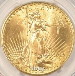 1928 $20 Saint Gaudens Gold Double Eagle Coin PCGS MS65+