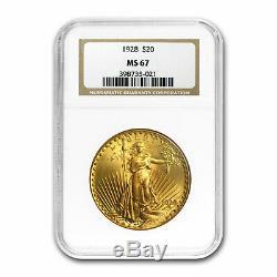 1928 $20 Saint-Gaudens Gold Double Eagle MS-67 NGC SKU#81488
