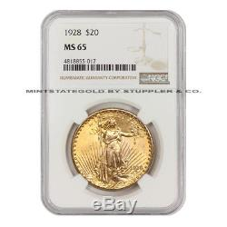 1928 $20 Saint Gaudens Gold Double Eagle NGC MS65 gem graded twenty dollar coin