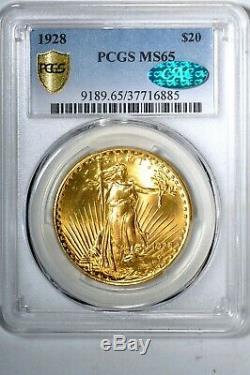 1928 $20 Saint Gaudens Gold Double Eagle PCGS MS65 (CAC) #885