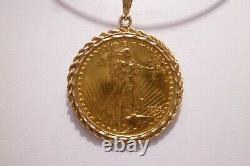 1928 $20 Saint-Gaudens Gold Double Eagle Pendant Rope Bezel 1070s 40.8 Grams