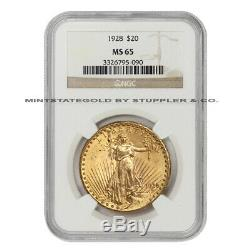 1928 $20 Saint Gaudens NGC MS65 Gem Graded Philadelphia Gold Double Eagle Coin