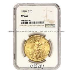 1928 $20 Saint Gaudens NGC MS67 graded Philadelphia Gold Double Eagle CoinStats