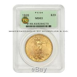 1928 $20 Saint Gaudens PCGS MS63 OGH PQ Approved Gold Double Eagle choice coin