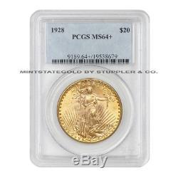 1928 $20 Saint Gaudens PCGS MS64+ plus graded Gold Double Eagle Choice coin