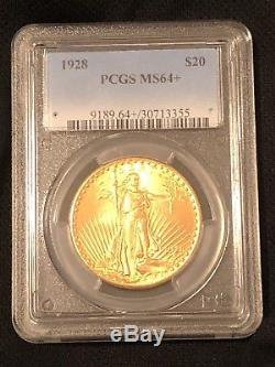 1928 $20 St Gaudens Gold Double Eagle PCGS MS64+ Great Investment Coin
