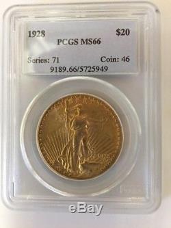 1928 $20 St Gaudens PCGS MS66 Uncirculated GEM Philadelphia Gold Double Eagle
