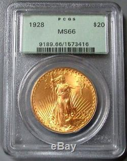 1928 Gold $20 Saint Gaudens Double Eagle Green Label Pcgs Mint State 66 Pq