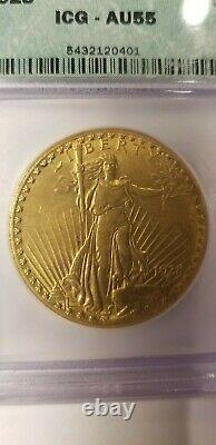 1928 ST. GAUDENS $20 GOLD DOUBLE EAGLE ICG AU55 GOLD COIN Brilliant MINT