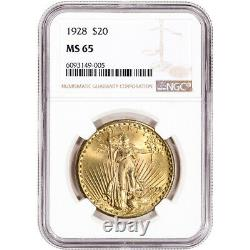 1928 US Gold $20 Saint-Gaudens Double Eagle NGC MS65