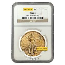 $20 Gold Double Eagle Saint Gaudens NGC MS 62 (Random Year)