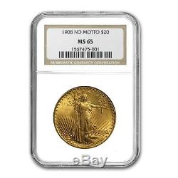 $20 Saint-Gaudens Gold Double Eagle MS-65 NGC (Random) SKU #125