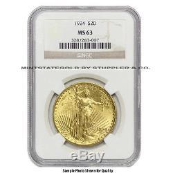 $20 Saint Gaudens NGC MS63 Random Year Choice certified Gold Double Eagle coin