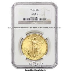 $20 Saint Gaudens NGC MS66 Random Year Gem graded Gold Double Eagle Various Date