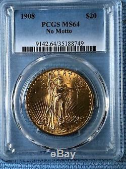 $20 US Gold Double Eagle, St. Gaudens. 1908 No Motto, PCGS MS64. Beautiful