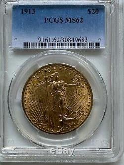 $20 US Gold Double Eagle, St. Gaudens. 1913 PCGS MS62. Beautiful Investment Coin