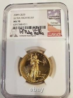 2009 $20 Gold NGCMS70 Ultra High Relief Double Eagle St Gaudens Castle Signature