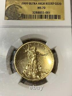 2009 $20 Gold Ultra High Relief Double Eagle NGC MS70 Saint Gaudens Gold Foil