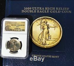 2009 Gold $20 Ultra High Relief Double Eagle, Saint Gaudens MS69