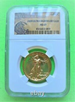2009 ULTRA HIGH RELIEF $20 GOLD DOUBLE EAGLE NGC MS69 St Gaudens Label 1-OZ GOLD