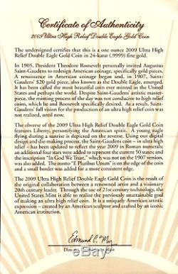 2009 US Mint UHR Double Eagle Saint Gaudens 24Kt. 9999 Gold Coin NGC MS70