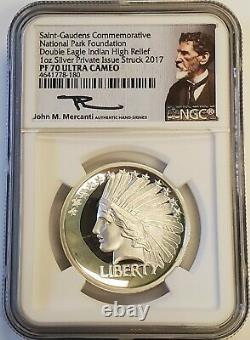 2017 1 oz Saint Gaudens Silver Double Eagle Indian Proof High Relief NGC PF70