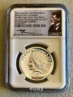 2017 1oz Saint-Gaudens Double Eagle Indian High Relief MERCANTI signed NGC PF70