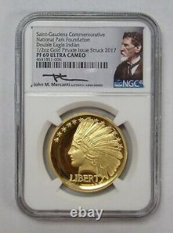 2017 Saint-Gaudens Comm Natl Park 1/2 oz GOLD Double Eagle Indian NGC PF69 ULCam