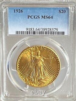 Beautiful 1926 $20 Saint Gaudens Gold Double Eagle PCGS MS64! 38928579