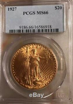 Blazing 1927 $20 St Gaudens PCGS MS66 GEM Philadelphia Gold Double Eagle