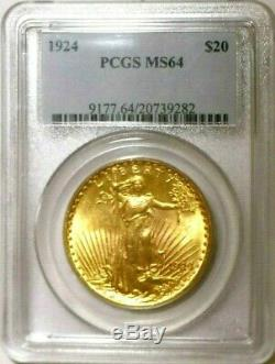 Blazing PQ MS64 (Looks Better) 1924 OGH PCGS GOLD $20 St. Gaudens US Double Eagle