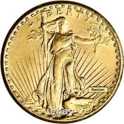 Five (5) US Gold $20 Saint-Gaudens Double Eagle Almost Uncirculated Random Date