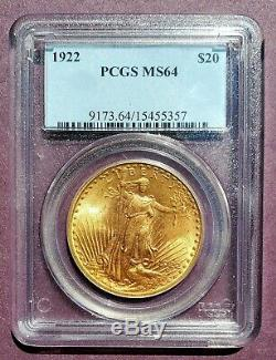 Incredible 1922 Saint Gaudens Double Eagle $20 Gold Coin PCGS Graded MS 64
