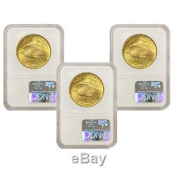 Lot of 3 $20 Saints NGC MS64 St Gaudens Double Eagle gold coins Random Years