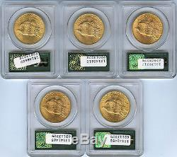 Lot of 5 No Motto $20 St. Gaudens Double Eagle Gold coins PCGS MS 66 Wells Fargo
