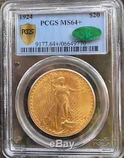 Lot of (6) CAC Certified 1924 $20 Saint Gaudens Double Eagle PCGS MS64+ Gold