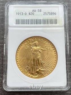 M14117- 1913-d Gold $20 Saint Gaudens Double Eagle Anacs Au58