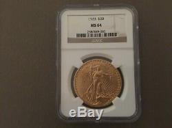 Near Gem! 1923 $20 Saint St. Gaudens Gold Double Eagle NGC MS 64 Beautiful