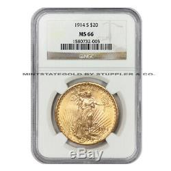 ONLY 3 FINER 1914-S $20 Saint Gaudens NGC MS66 Gem Graded Gold Double Eagle Coin