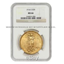 ONLY 4 FINER 1914-S $20 Saint Gaudens NGC MS66 Gem Graded Gold Double Eagle Coin