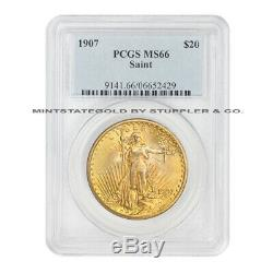 ONLY 49 FINER 1907 $20 St. Gaudens PCGS MS66 Gold Double Eagle CoinStats Saint