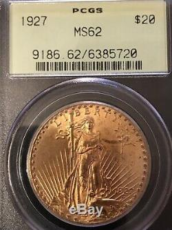 PCGS MS62 1927 St. Gaudens $ 20 Double Eagle Gold Coin Pre-1933