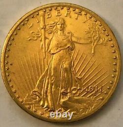 Rare 1911-d $20 Gold Saint Gauden Double Eagle Coin