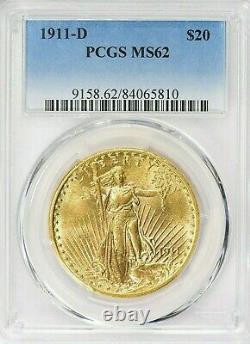 Rare Date! 1911-d Saint Gaudens Gold Double Eagle Pcgs Ms 62 $2,598.88
