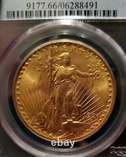 STUNNING 1924 $20 PCGS MS 66 Gold St. Gaudens Double Eagle GEM Uncirculated Coin